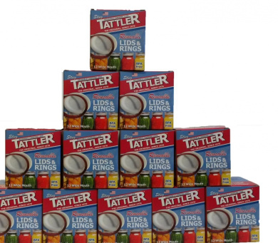 Tattler Reusable Wide Canning Lids and Rubber Rings 12 of 12 Pack - Fits Wide Mouth Jars Only