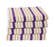 Cotton Craft - 4 Pack Dish Cloths, 15x15 - Purple, Pure 100% Cotton, Crisp Basket weave striped pattern, Convenient hanging loop - Highly absorbent, Professional Grade, Soft yet Sturdy