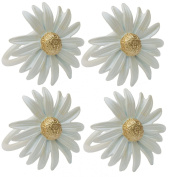 Manor Luxe Daisy Spring Flower Painted Metal Napkin Rings (Set of 4), White