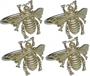 Manor Luxe Bourdon Elegant Metal Napkin Rings (Set of 4), Gold