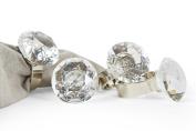 Manor Luxe Bling Diamond Engagement Ring Metal Napkin Rings (Set of 4), Silver