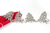 Manor Luxe Shimmer Holiday Christmas Tree Jewelled Metal Napkin Rings (Set of 4), Silver
