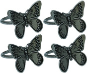 Manor Luxe Flutter Spring Butterfly Brass Metal Napkin Rings (Set of 4), Pewter