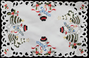 4PCS Holiday Embroidered Snowman and Christmas Tree Placemats 28cm x 43cm White, Set of 4 Pieces by Creative Linens
