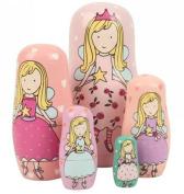 TStoy Wooden Round Matryoshka Russian Pink Nested Maiden Wishing Dolls 5pc
