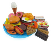 Fast Food & Dessert Play Food Cooking Set for Kids - 30 pieces (Burgers, Donuts, Ice Cream, & more) Model