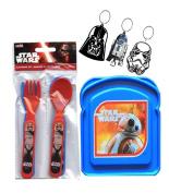 Star Wars Sandwich Bread Box & 4pc Star Wars Utensils Set! Plus Bonus Star Wars Rubber Keychain!
