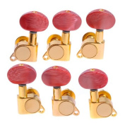 Tstoy 1set 3l3r K-801 Enclosed Gold Tuning Pegs Machine Head Tuners W/peal Red Plastic Buttons for Acoustic Guitar