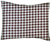 SheetWorld Crib / Toddler Percale Baby Pillow Case - Brown Gingham Cheque - Made In USA