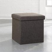 Sauder Soft Modern Upholstered Storage Ottoman, Dark Grey Linen