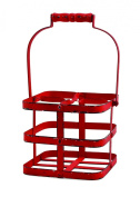 TWINE Rustic Farmhouse Big Red Wine Carrier for Up to 4-Standard Wine Bottles