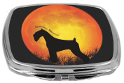 Rikki Knight Miniature Schnauzer Dog Silhouette By Moon Design Compact Mirror