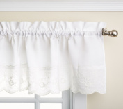 Lorraine Home Fashions Candlewick Tailored Valance, 150cm by 30cm , White