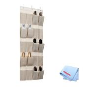 20 Pocket Hanging Shoe Organiser/Caddy In Beige/Faux Jute + Tronixpro Microfiber Cloth