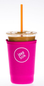 Iced JAVA SOK (Bright Pink Medium) - Perfect Fit Neoprene Cup Sleeve For DUNKIN DONUTS and STARBUCKS (And Other) 710ml Cold Beverage Cups