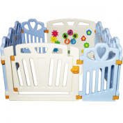 Puzzle and Beep with HEART! Baby Playpen, Kid Play Zone - 10 Panels (Blue) 1.2sqm