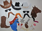 22 Pc Photo Booth Party Props Moustache on a Stick Western Theme Party Cowboy Hat