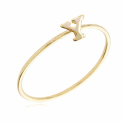Gold Plated Stackable Initial Letter Ring Size 7, Letter Y