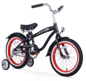 Firmstrong Bruiser Boy's Single Speed Bicycle w/ Training Wheels, 41cm , Black w/ Red Rims