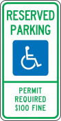 """Accuform Signs FRA203RA Engineer-Grade Reflective Aluminium Handicapped Parking Sign (Montana), Legend """"RESERVED PARKING PERMIT REQUIRED $100 FINE"""" with Graphic, 60cm Length x 30cm Width x 0.2cm Thickness, Green/Blue on White"""