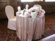 ShiDianYi 180cm round champagne Sequin Tablecloth