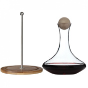 Classic Glass Wine Decanter with Wooden Ball Stopper and Decanter Dryer Stand. By Lily's Home®