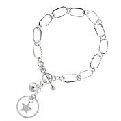 Sterling Silver Pentagram & Ball Link Toggle Charm Bracelet, 19cm long