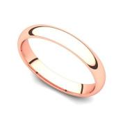 18k Rose Gold 3mm Classic Plain Comfort Fit Wedding Band Ring
