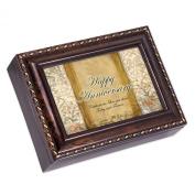 Happy Anniversary Dark Burl Wood Finish with Gold Trim Jewellery Music Box - Tune Pachelbel's Canon in D
