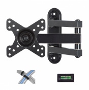 """Mounting Dream MD2463 TV Wall Mount Bracket with Full Motion Articulating Arm (14"""" Extension) for most of 10-26 Inches LED, LCD TVs and Monitors up to VESA 100x100mm and 15kg, with Tilt, Swivel, and Rotation Adjustment, Including Bubble Level and Vel .."""