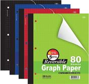 3 Pk, Bazic 10cm /13cm Reversible Graph Paper, 22cm X 28cm , 80 Sheets