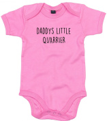 Quarrier Baby Body Suit Daddys little Newborn Babygrow Pink with Black Print 0-3 months