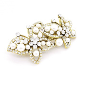 Vintage/Antique Style Crystal Diamante & Faux Pearl Twin Butterfly Design Hair Barrette