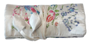 White Embroidered Silk Floral Print Make Up Bag/ Wrap /Jewellery Roll