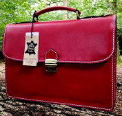 38cm HAND-CRAFTED ITALIAN RED BRIEFCASE DESIGNER LEATHER LAPTOP SATCHEL PORTFOLIO MESSENGER BAG