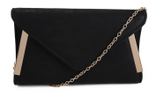 New Womens Small Faux Leather Side Gold Trim Small Party Prom Bridal Wedding Evening Clutch HandBag