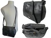 Triple Zipped Section Cross Body HandBag Shoulder Bag Black Leather QL975