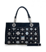 Oath_song Women's Crocodile Leather Signal Studded Chain Square Tote Bag Black