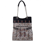 Oath_song Women's Lizard Leather Skull Studded Chain Leopard Tote Shoulder Bag