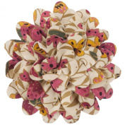 10cm Floral Print Cotton Blend Flower Pin - Cream Taupe W02S53A