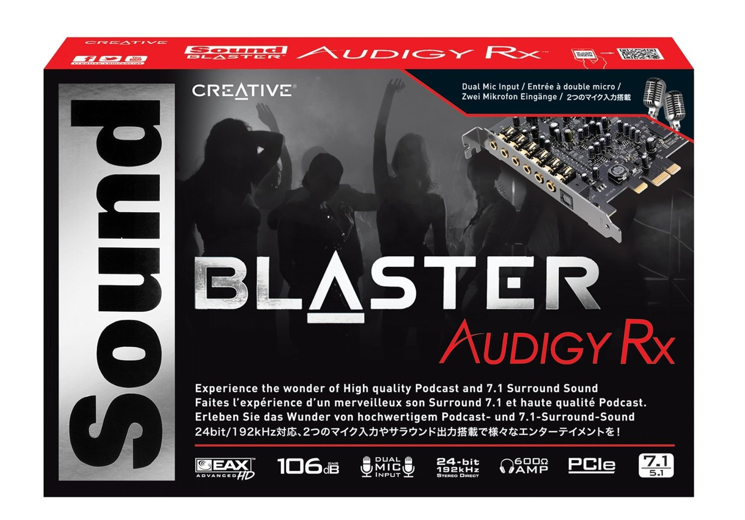 Creative Sound Blaster Audigy PCIe RX 7 1 Sound Card with High Performance  Headphone Amp