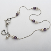 Wonderful 925 Sterling Silver Anklets Great White Colour Pearl Shape Round