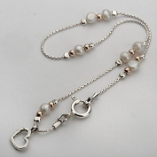 Female Shablool Silver Anklet 925 Sterling Silver Pearl Round White