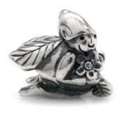 925 STERLING SILVER. GLASS WHITE ELF BEAD CHARM