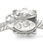 925 STERLING SILVER. GLASS WHITE LADYBIRD BEAD CHARM