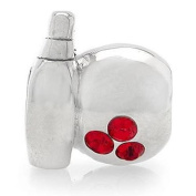 925 STERLING SILVER. RED BOWLING BEAD CHARM