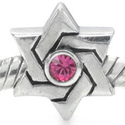 925 STERLING SILVER. GLASS PINK DAVID STAR BEAD CHARM