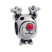 Juicy Jewellery UK Cute Rudolph Red Nosed Reindeer Charm Bead