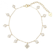 Lustrous - White Pearl Bracelet and. Flower Pendant