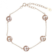Lustrous - Lilac Round Pearl Bracelet on Rose Gold Chain